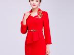 欧兰丝厂家直销 2017春季红色新娘礼服