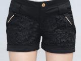 一件代发代理大码胖妹妹蕾丝拼接OL修身显瘦黑色短裤热裤K3620