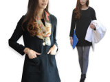 2014春季韩版 黑色长袖秋装大码显瘦宽松连衣裙