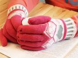 冬季女款双层加厚保暖针织米奇头爱心五指手套 分指手套 全指手套