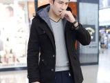 男士毛呢大衣韩版秋冬装羊毛呢子外套男装羊绒加厚长男呢大衣代发