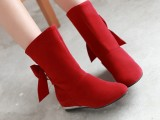 秋冬女鞋韩版甜美蝴蝶结平底靴单靴磨砂绒面学生中筒短靴女靴批发