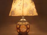 厂家供应装饰灯具卧室创意陶瓷青花瓷砥柱布艺台灯床头灯批发