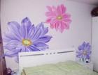 卧室手绘墙画 太原墙绘 花卉图案手绘墙 彩绘背景墙画