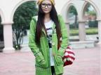 2014秋季秋冬新款手工绣花内里加绒长款毛衣外套开衫 3色 绿色