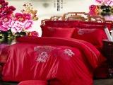 罗莱全棉绣花四件套床上用品家纺精致绣花四件套婚庆四件套批发