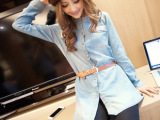 2014新款韩版 中长款镶钻钉珠长袖牛仔衬衫 女 宽松牛仔衬衣