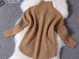 2014新款秋冬装 欧美街拍精品 大牌时尚针织高领口袋女式毛衣宽