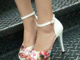 韩国罗马凉鞋女式新款夏天包跟鱼嘴鞋碎花细高跟外贸女鞋批发鞋子
