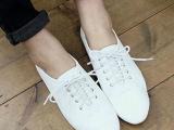 stylenanda同款 欧美尖头系带小白鞋平底鞋单鞋平跟女鞋