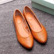 2014欧洲站广州新款真皮平底潮编织纹女单鞋淘宝阿里一件代批发