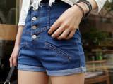 6812# 2013日韩女装新款 VIVI推荐高腰牛仔短裤 显瘦