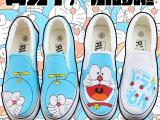 批发零售机器猫哆啦A梦手绘鞋涂鸦鞋休闲鞋韩版帆布鞋男女板鞋