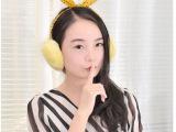 超萌粉嫩可爱毛绒兔耳朵保暖耳套 兔耳朵耳罩