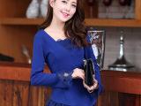 韩版2014秋装新款时尚女装修身淑女蕾丝花边打底衫女长袖小衫女