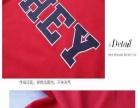 大猫范家夏季新款红黑拼接短袖字母修身显瘦红色T恤