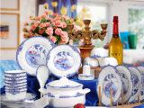景德镇陶瓷餐具套装56头骨瓷餐具瓷器碗套装 餐具送礼品可印LG