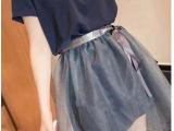 2014夏季新款女装韩版两穿套装纯色长款T恤+网纱短裙两件套