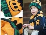 2012新款儿童笑脸帽 韩版儿童针织帽 帽子围巾两件套 秋冬保暖