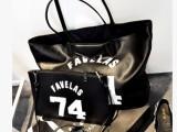 欧美大牌百搭新潮74字母大包 两用包 黑色单肩子母包包手提女包包