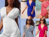欧美女装连衣裙冰丝 深v领沙滩裙女装夏季 欧美海滩裙性感连衣裙
