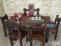 威海市老船木办公桌家具茶桌椅子客厅沙发茶几茶台实木会议大板桌