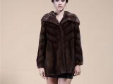 2013韩版秋冬新款 中长款咖啡色大翻领整貂外套 水貂裘皮大衣
