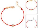 范冰冰明星《一夜惊喜》同款 红绳18K玫瑰金单钻手链 部分现货