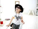 2014最新夏款韩版 纯棉卡通斑马 短袖哈伦裤男女童套装 童装批