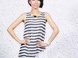 2013夏季清仓特价杭州芭莎诺瓦精品女装条纹时尚显瘦背心雪纺衫