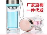 新款泡泡萌斗士一件代发玻璃杯双层玻璃茶水杯子厂家定制做印字