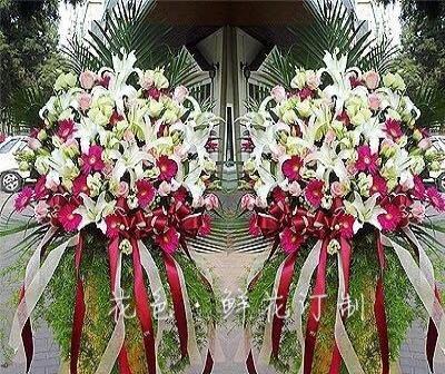 天津鲜花开业庆典花篮会议桌摆演讲台花生日花束婚礼花