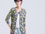2014早秋新款韩版女装毛衣女中长款开衫外套学院风针织衫女修身款