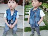 2015春夏新款韩版童装 小童拉链牛仔马甲 男女童字母马甲背心