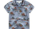 2015春夏款 外贸童装 满印椰树衬衫男童短袖 热批儿童衬衫