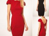 外贸款新款包臀红色月牙边小性感后背V领气质礼服裙修身连衣裙