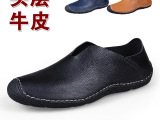 微信代发头层牛皮套脚单鞋男士休闲真皮英伦平底男鞋驾车鞋豆豆鞋