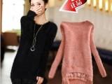 2013秋冬新款女装马海毛毛 打底针织衫 蕾丝花边拼接长袖毛衣外