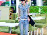 2015新款时尚女士套装 韩版V领单排扣女纱网牛仔套装 批发