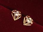 韩国饰品版尚可爱小耳钉耳环耳饰超人钻石反战电镀14k金钻石