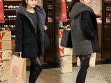 欧洲站2014冬新款棉衣女 欧美时尚毛线拼接连帽中长款加厚棉外套
