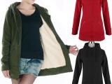 秋冬双层加里衬卫衣 韩版加厚加绒中长款卫衣 大码修身开衫女外套