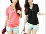 2014夏装新款女装 瑞丽 韩版大码修身纯色V领短袖衬衫 衬衣
