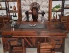 老船木茶桌阳台户外小型茶台中式复古家具茶桌 古典实木桌椅茶台