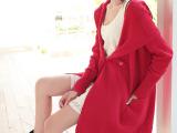 2014年永马秋季新款韩版宽松针织中长款女全棉红色黑色毛衣潮