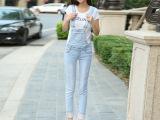 2014秋季新款牛仔背带裤女韩版全棉磨破浅白色牛仔弹力背带七分裤