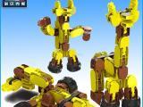 外贸出口diy益智积木玩具乐高拼装组合旋转发声拼插合体变形积木
