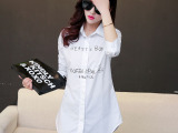 2015春装女白衬衫中长款款韩版通勤BF风字母印花长袖打底衬衣