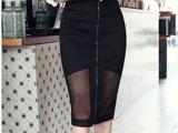 2014年夏季包臀裙 爆款修身透视雪纺拼接网纱高腰半身裙气质中裙