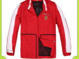 定做法拉力款红色拉链风衣赛车服 防风保暖